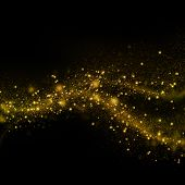 image of gold-dust  - Gold glittering stars dust trail background - JPG