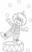 picture of juggling  - Funny clown juggling small balls - JPG