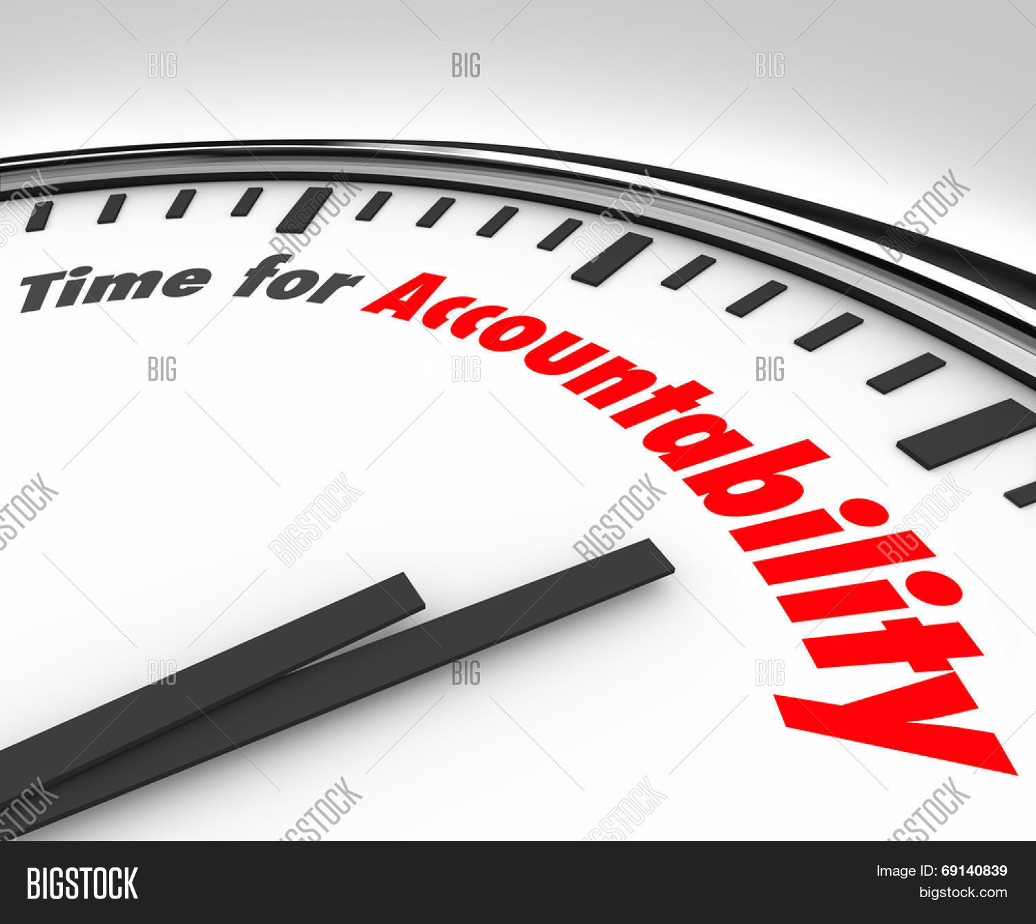 time for accountability words on a clock face showing importance time for accountability words on a clock face showing importance of taking responsibility for your actions