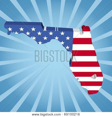 Florida map flag on blue sunburst illustration