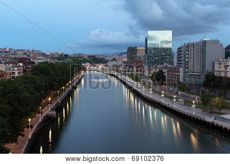 City Of Bilbao At Dusk, Spain
