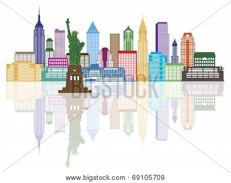 New York City Skyline Color Illustration