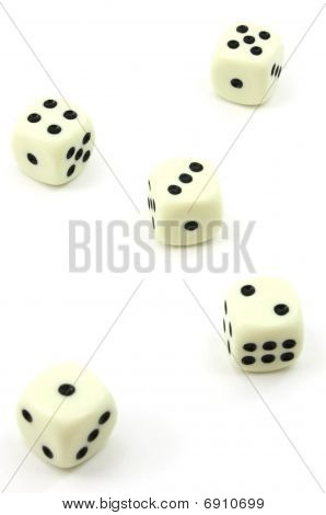 Five white dice, one to five