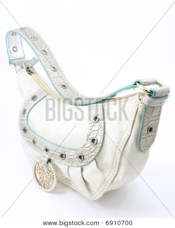 White fashion purse handbag with strap