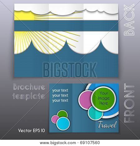 Vector trifold business brochure template design
