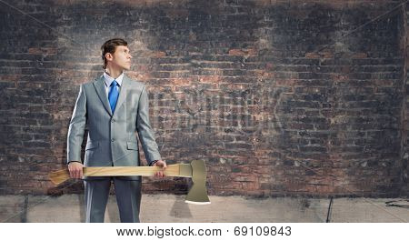 Man with axe in hands
