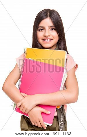 Girl Holding Sketchbooks
