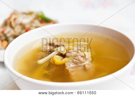 Lily Flower And Sparerib Soup.