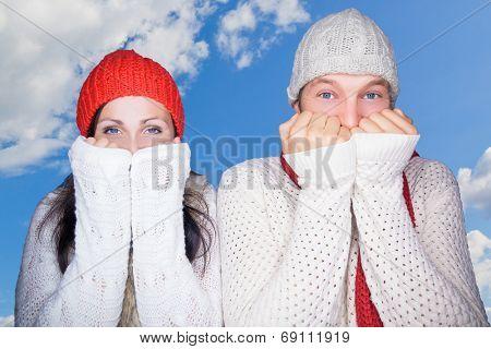 cruious colding wintertime portrait