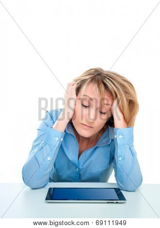 learning female on desk frustrated stressed