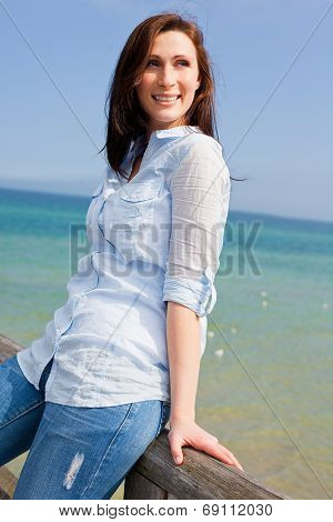 relaxing bridge sitting female seaside