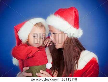christmas celebrating family on blue background