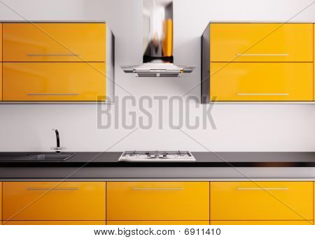 Orange Kitchen 3D