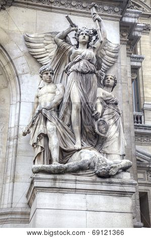 Paris. Sculptures On The Facade Of The Opera Garnier. Sculptural Group Lyric Music