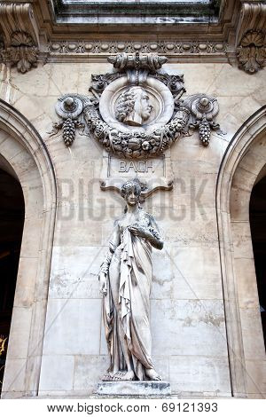 Paris. Sculptures And High Reliefs On The Facade Of Opera Garnier. Portrait Of Bach