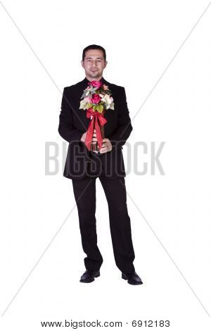 Businessman Holding Flowers In His Hand