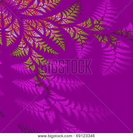 Asymmetrical Pattern Of The Leaves In Purple And Green.  Computer Generated Graphics.