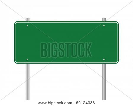 Blank green traffic road sign vector illustration