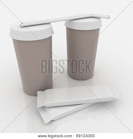 White plastic fast food glasses with tubules and chocs on a white background