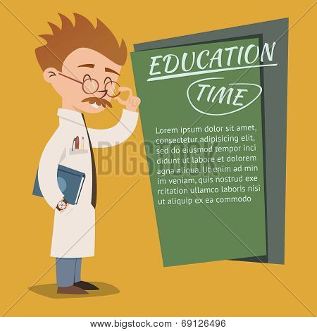 Vintage style Education Time poster design