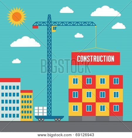Construction of Building - Concept Vector Illustration in Flat Style Design