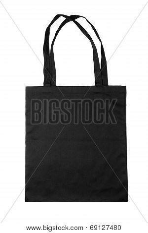 Black fabric bag isolated on white background