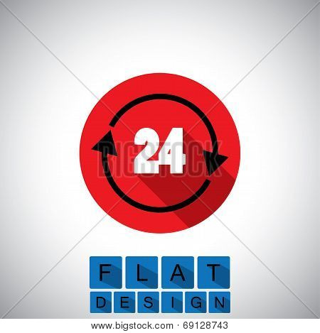 Flat Design Icon Of 24 Hours Sign Or Symbol - Vector Graphic