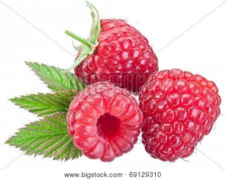 Three raspberries with leaves isolated on a whitebackground.