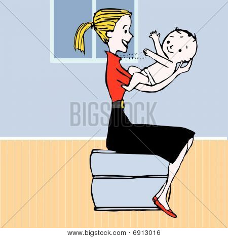 Happy mother with her baby - 1960s stylization