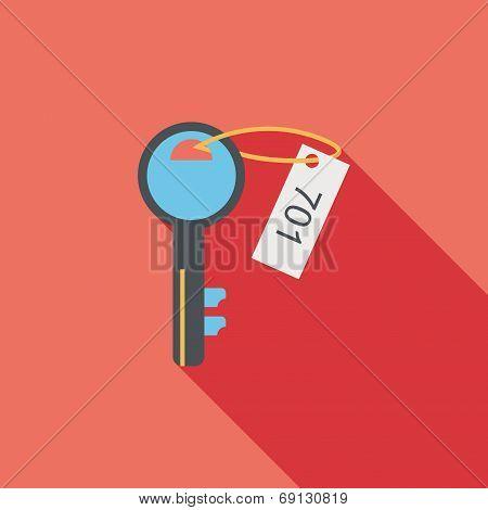 Hotel Key Flat Icon With Long Shadow