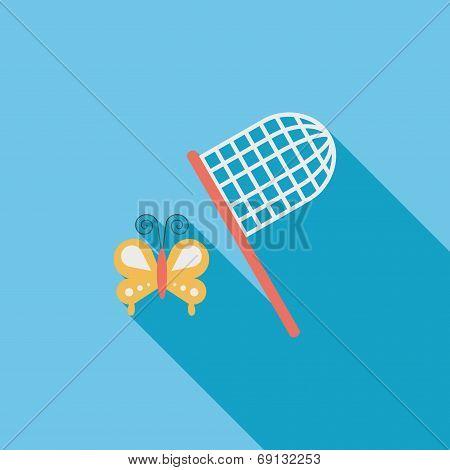 Butterfly Net Flat Icon With Long Shadow