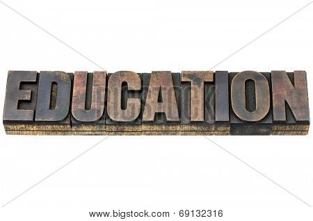 education word - isolated text in vintage letterpress wood type with ink patina
