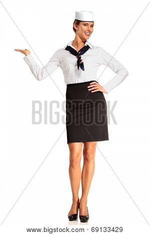 Charming Flight Stewardess Showing Various Gesture