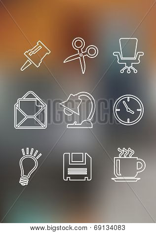 Set of flat office icons