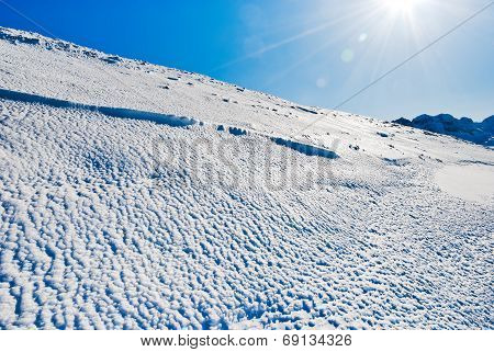 Blue Cold Snow On Alps Mountain