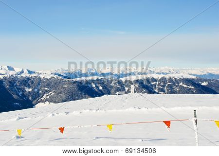 Skiing Area On Snow Mountain In Dolomites, Italy