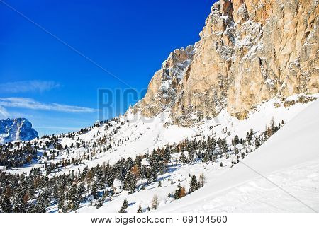 Slope Of Dolomites Mountain In Val Gardena
