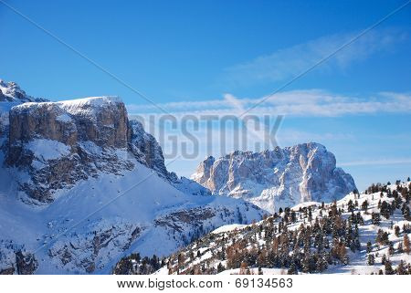 View Of Dolomites Mountain In Val Gardena