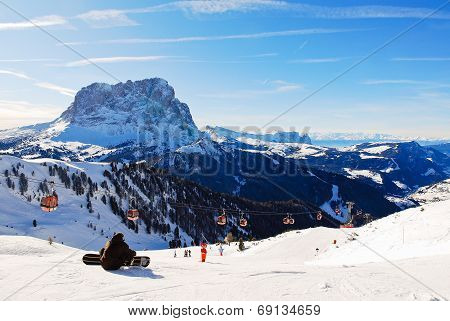 Ski Lift And View Of Dolomites Mountains, Italy