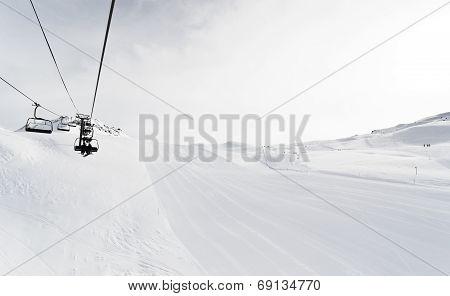 Skiing Tracks And Ski Lift In Paradiski Area, France