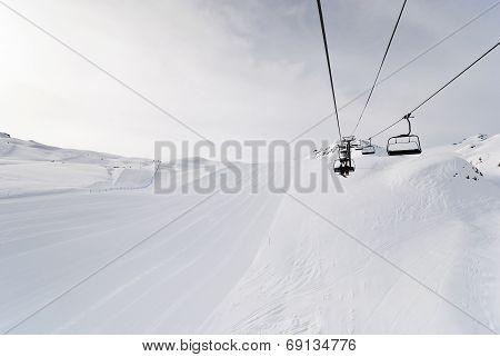 Ski Run And Lift In Paradiski Area, France