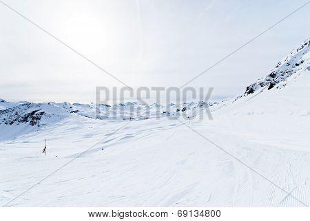 Skiing Tracks In Paradiski Area, France