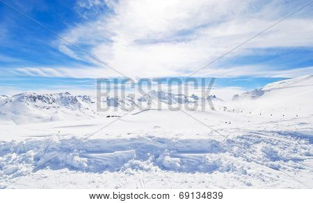 Panorama Of Skiing Area In Paradiski, France