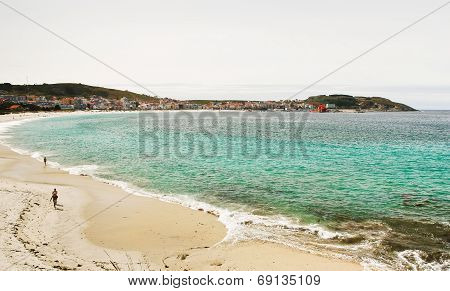 Sand Beach Of Bay Of Biscay In Cambados, Spain