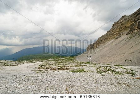 Stone Valley In Dolomites Mountains