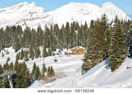 Mountain Skiing Area In Portes Du Soleil Region