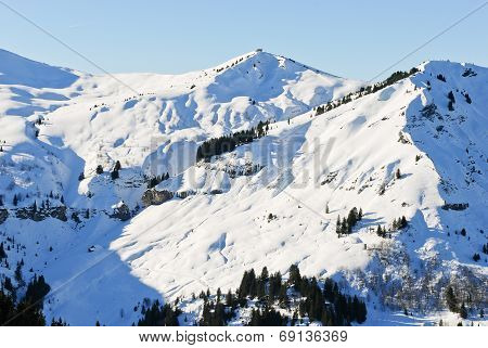 Snowy Peaks Of Alps Mountains, France
