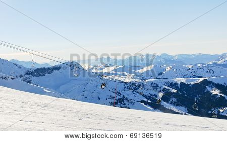 Skiing Tracks And Ski Lift In Alps