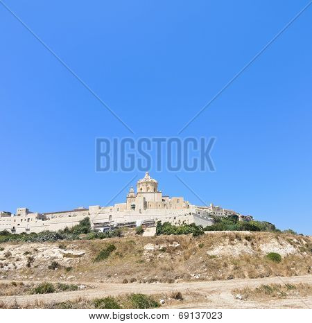 Citadella Old Fortified City On Gozo Island, Malta