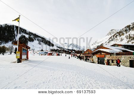 Main Street In Mountain Town Val D'isere, France